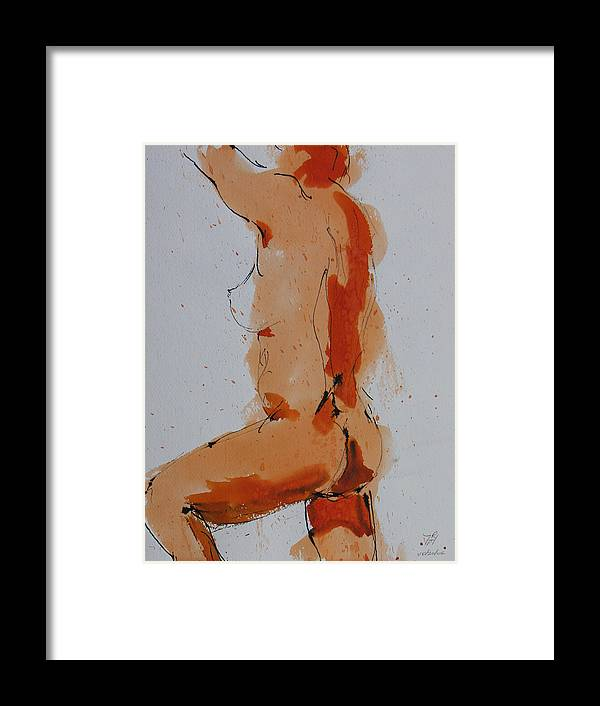Nude Framed Print featuring the painting Standing Nude by Robert P Hedden