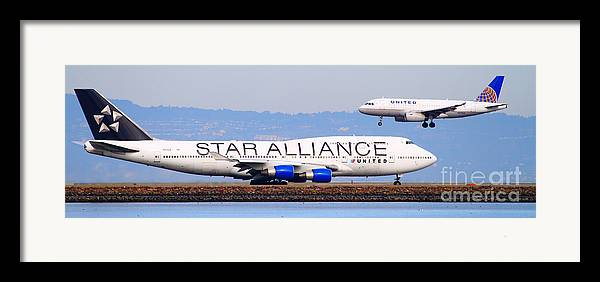 Pano Framed Print featuring the photograph Star Alliance Airlines And United Airlines Jet Airplanes At San Francisco Airport Sfo . Long Cut by Wingsdomain Art and Photography