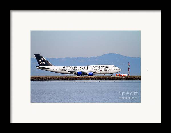 Airplane Framed Print featuring the photograph Star Alliance Airlines Jet Airplane At San Francisco International Airport Sfo . 7d12199 by Wingsdomain Art and Photography