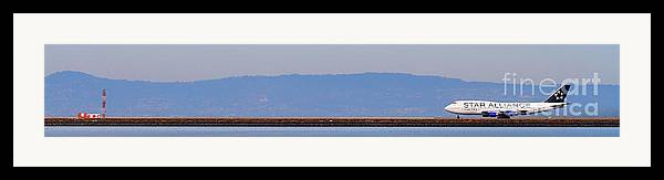 Pano Framed Print featuring the photograph Star Alliance Airlines Jet Airplane At San Francisco International Airport Sfo . 7d12208 . Pano Cut by Wingsdomain Art and Photography