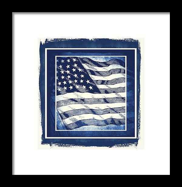 Usa Framed Print featuring the mixed media Star Spangled Banner Blue by Angelina Vick