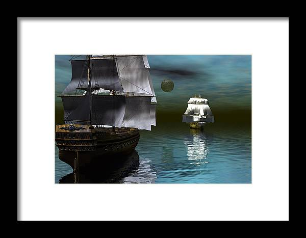Bryce Framed Print featuring the digital art Starboard Guns Make Ready by Claude McCoy