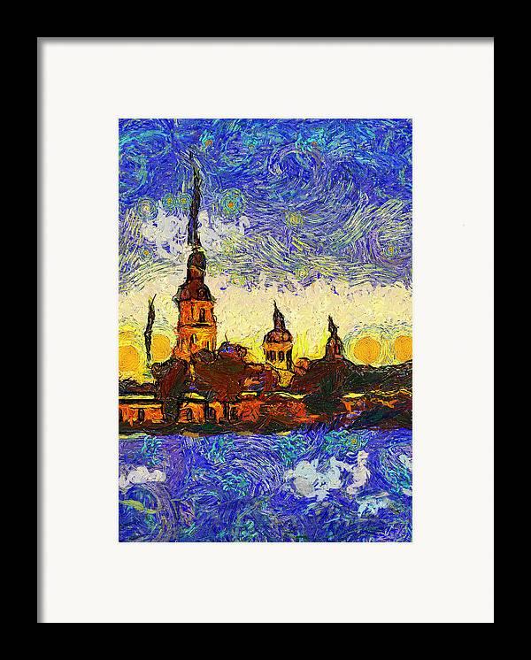 Saint Framed Print featuring the digital art Starred Saint Petersburg by Yury Malkov