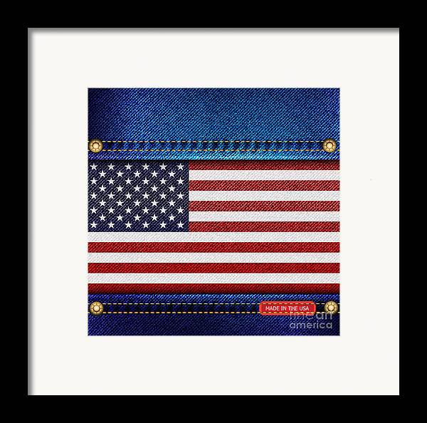 Background Framed Print featuring the photograph Stars And Stripes Denim by Jane Rix