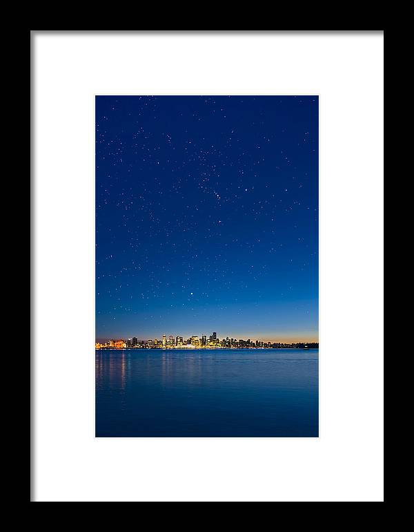 Vancouver Framed Print featuring the photograph Stars Over Vancouver, Canada by David Nunuk