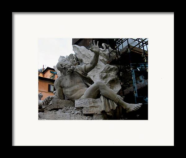 Venice Framed Print featuring the relief Statue At Piazza by Suhas Tavkar