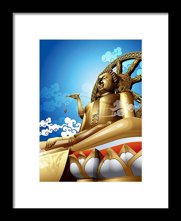 Ancient Framed Print featuring the painting Statue Of Big Buddha On Blue Sky. by Kittisak Taramas