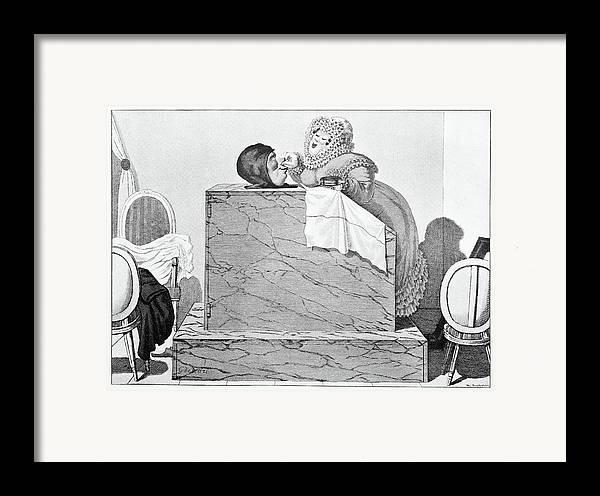 Human Framed Print featuring the photograph Steam Bath, Satirical Artwork by