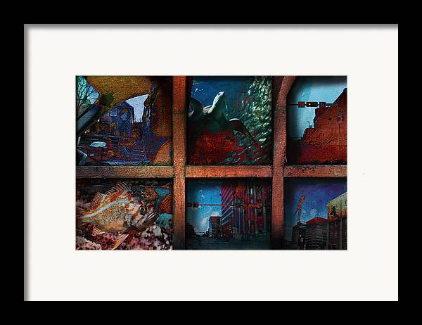 City Framed Print featuring the mixed media Steam Shovel by Janet Kearns