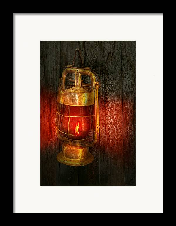 Redlight Framed Print featuring the photograph Steampunk - Red Light District by Mike Savad