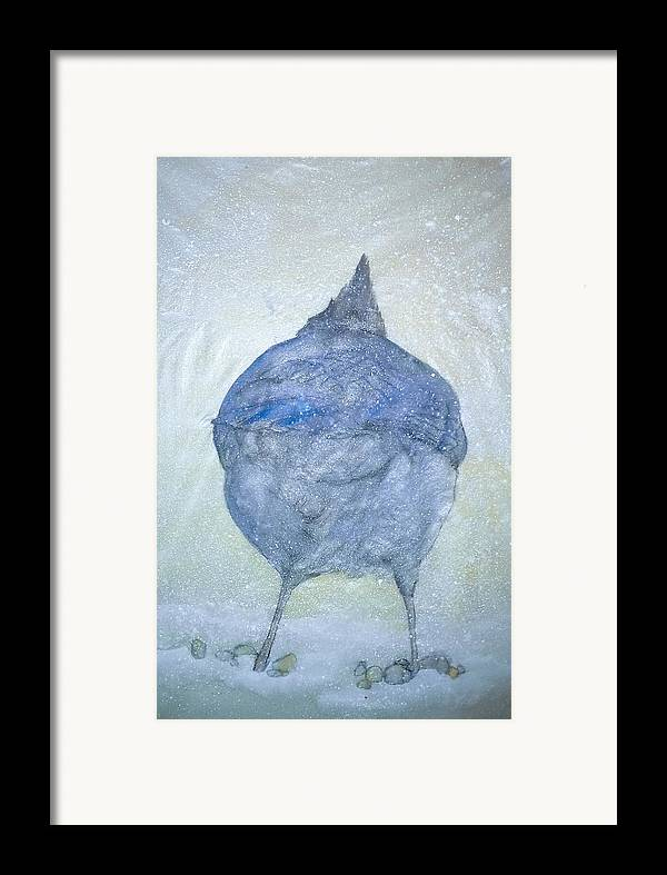 Painting Framed Print featuring the painting Stellar Jay From Back by Debbi Saccomanno Chan
