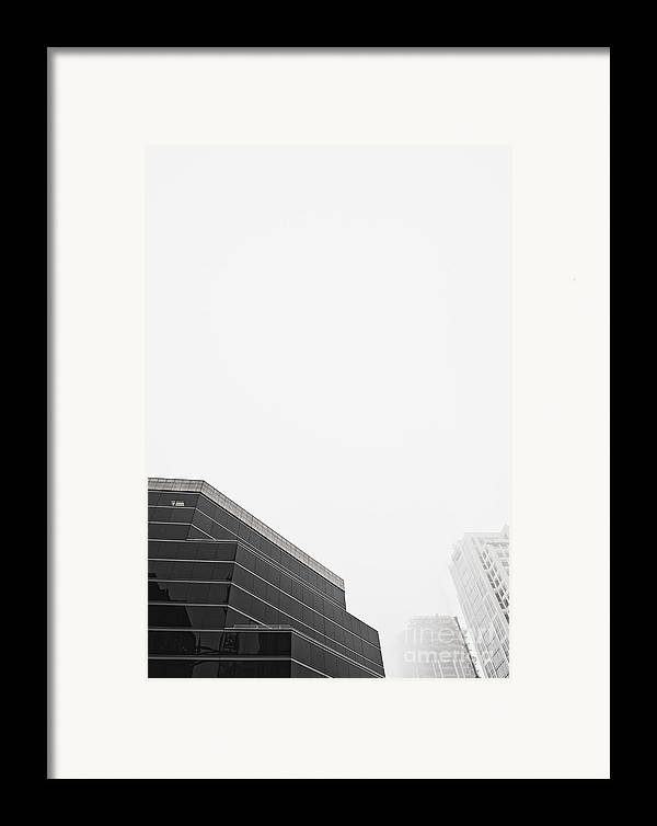 Architectural Detail Framed Print featuring the photograph Step Tiered Office Building With Dark Windows by Jetta Productions, Inc