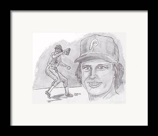 Phillies Framed Print featuring the drawing Steve Carlton- Lefty by Chris DelVecchio