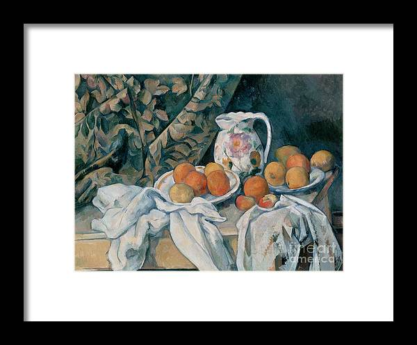 Cezanne Framed Print featuring the painting Still Life With A Curtain by Extrospection Art
