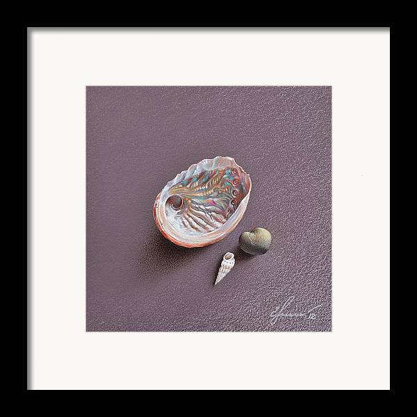 Shell Framed Print featuring the drawing Still Life With Abalone Shell by Elena Kolotusha
