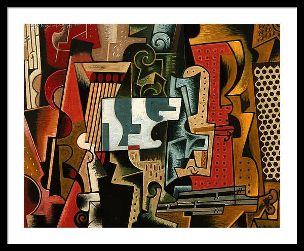 Still Life Framed Print featuring the painting Still Life With Matchbox And Violin by Ashish Das