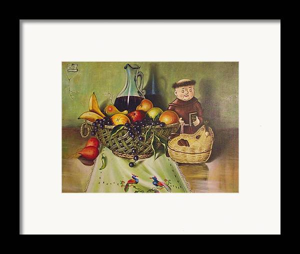 Santana Framed Print featuring the painting Still Life With Moms Needle Work by Joe Santana