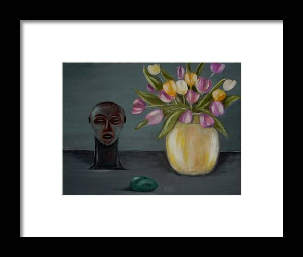 Tulips Framed Print featuring the painting Still life with tulips by Joseph Ferguson