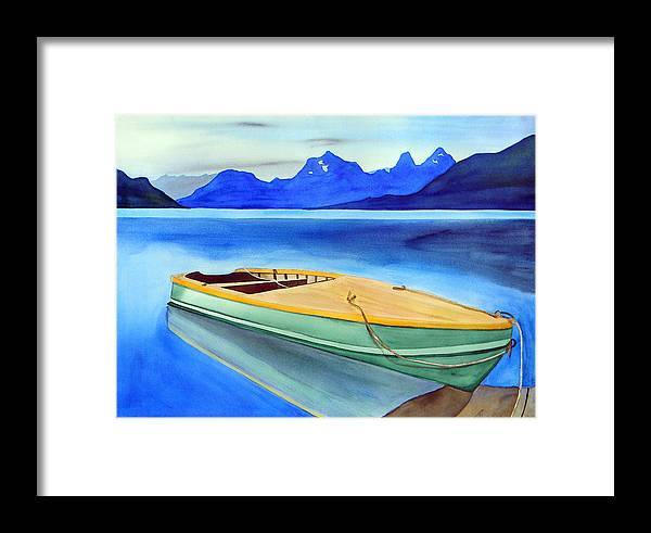 Boat Electric Row Wooden Aluminum Lake Mountain Alaska Tranquil Dock Marine Boating Framed Print featuring the painting Stillwater Cove by The Nothing Machine Ink