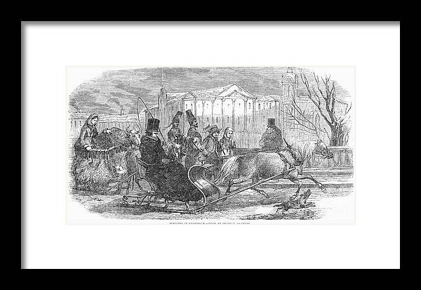 1850 Framed Print featuring the photograph Stockholm: Sleighing, 1850 by Granger