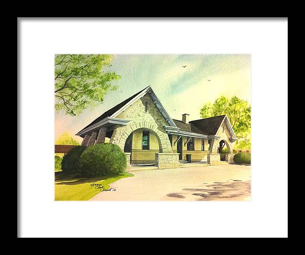 Stone Framed Print featuring the painting Stone Avenue Station by Kerry Trout