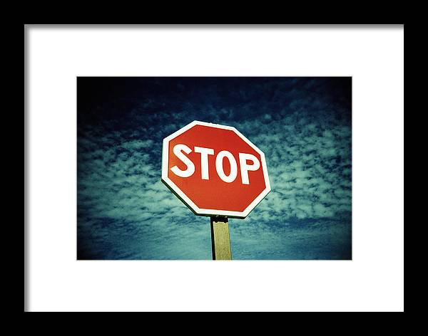 Speed Control Framed Print featuring the photograph Stop Sign by Kevin Curtis