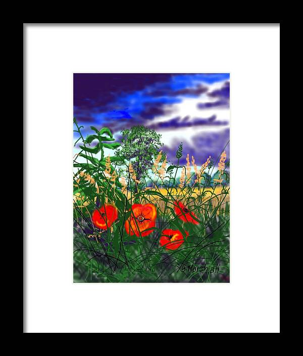 Landscape Framed Print featuring the painting Storm Clouds And Poppies by Glenn Marshall