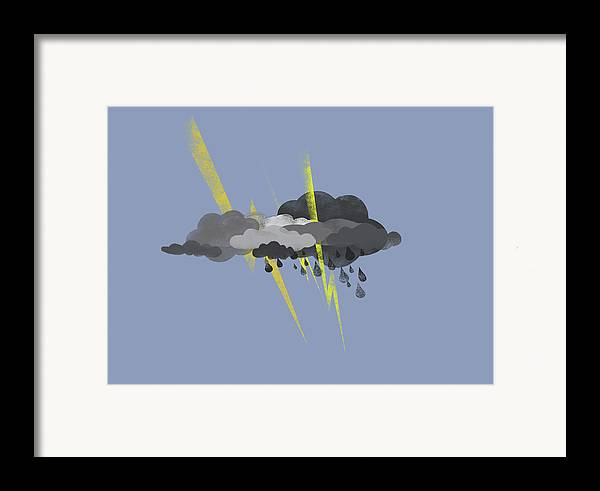 Horizontal Framed Print featuring the digital art Storm Clouds, Lightning And Rain by Jutta Kuss