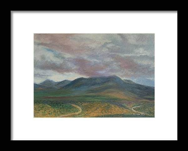 Landscape Framed Print featuring the painting Storm Clouds Over the Ortiz Mountains by Phyllis Tarlow