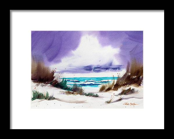 Beach Landscape Framed Print featuring the painting Storm's Coming. by Josh Chilton