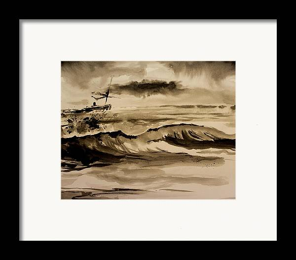 Ink Framed Print featuring the painting Stormy Arrival by Scott Nelson