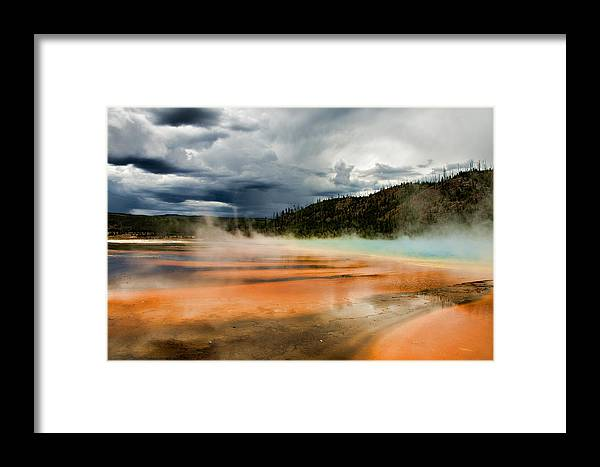 Grand Prismatic Spring Framed Print featuring the photograph Stormy Grand Prismatic Spring by Lana Trussell