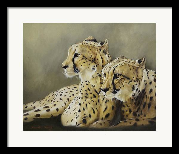 Cheetah Framed Print featuring the painting Stranger In The Midst. by Lucinda Coldrey