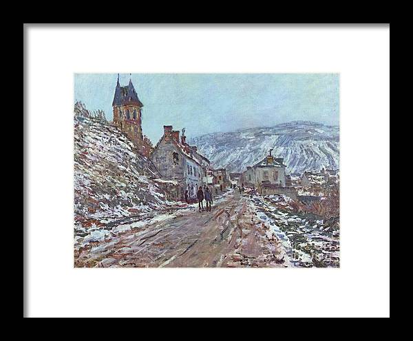Claude Monet Framed Print featuring the painting Street In Vetheuil In Winter by Extrospection Art