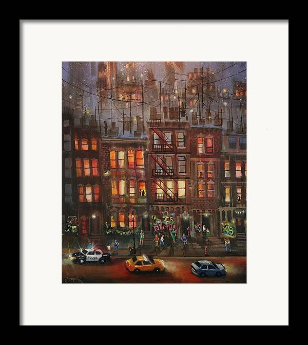 Brownstone Framed Print featuring the painting Street Life by Tom Shropshire