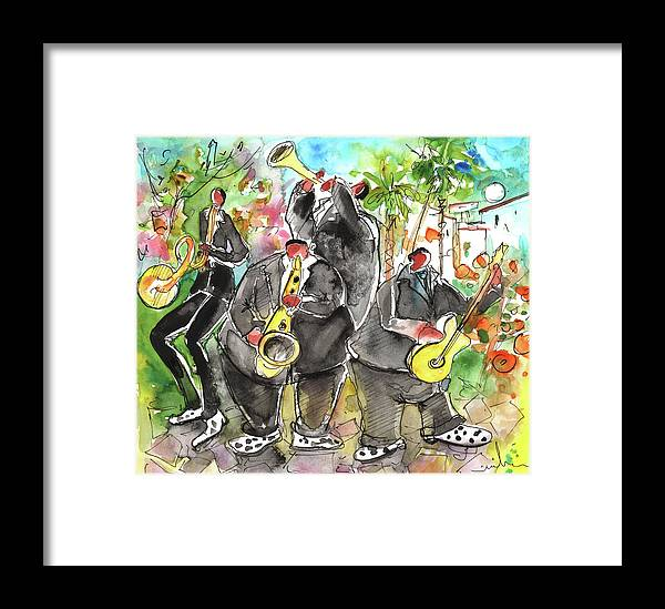 Travel Sketch Framed Print featuring the painting Street Musicians In Cyprus by Miki De Goodaboom