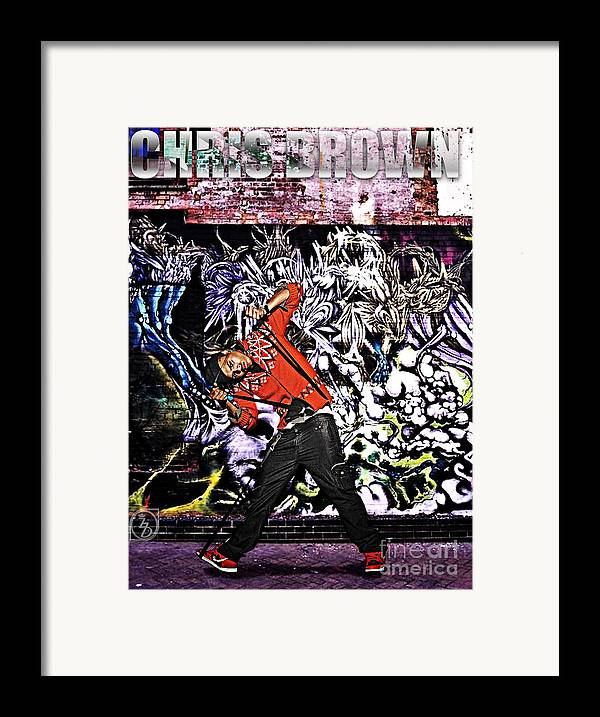 Chris Brown Framed Print featuring the digital art Street Phenomenon Chris Brown by The DigArtisT