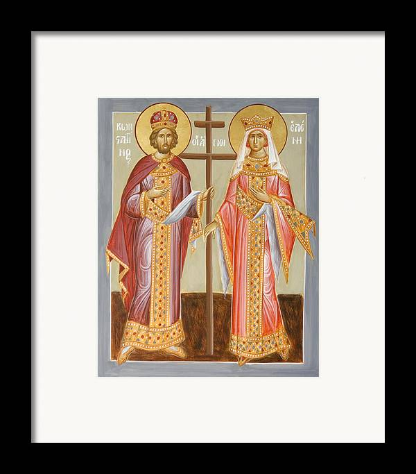 Sts Constantine And Helen Framed Print featuring the painting Sts Constantine And Helen by Julia Bridget Hayes