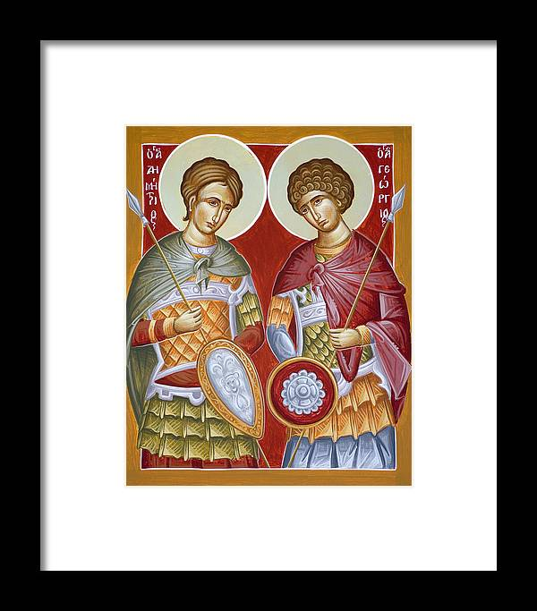 St Dimitrios Framed Print featuring the painting Sts Dimitrios And George by Julia Bridget Hayes