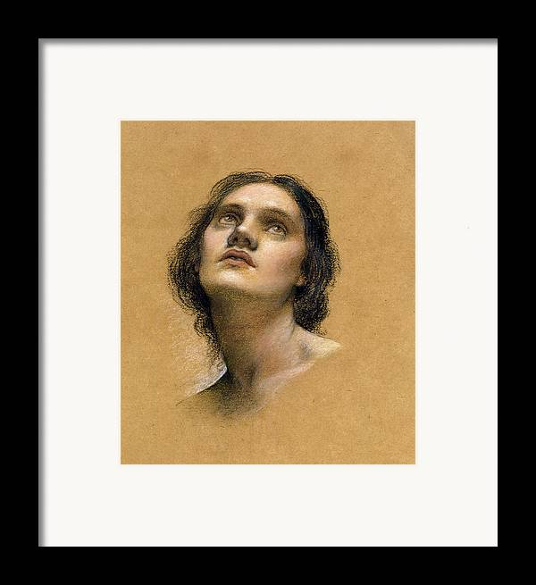 Female; Gaze; Drawing; Upturned Face Framed Print featuring the pastel Study Of A Head by Evelyn De Morgan