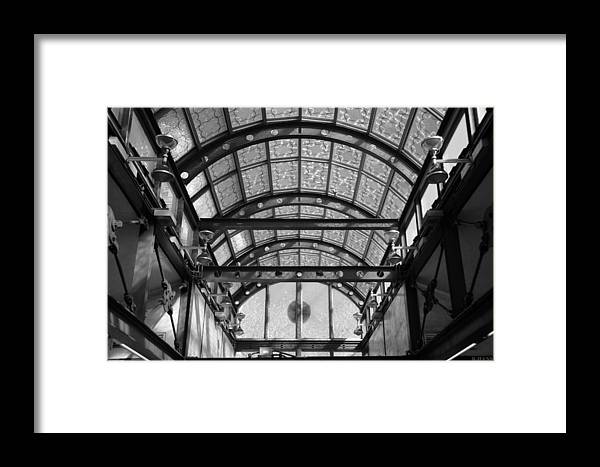 Black And White Framed Print featuring the photograph Subway Glass Station In Black And White by Rob Hans