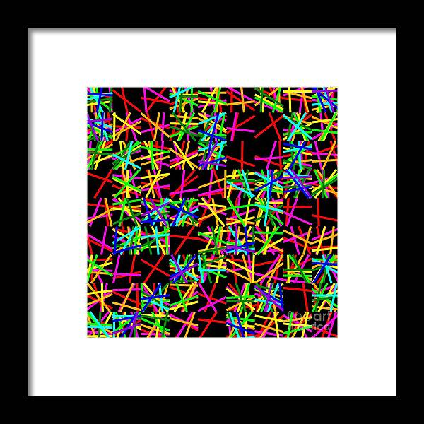 Red Framed Print featuring the digital art Sudoku Random Slanting Criss-crossed Lines by Ron Brown