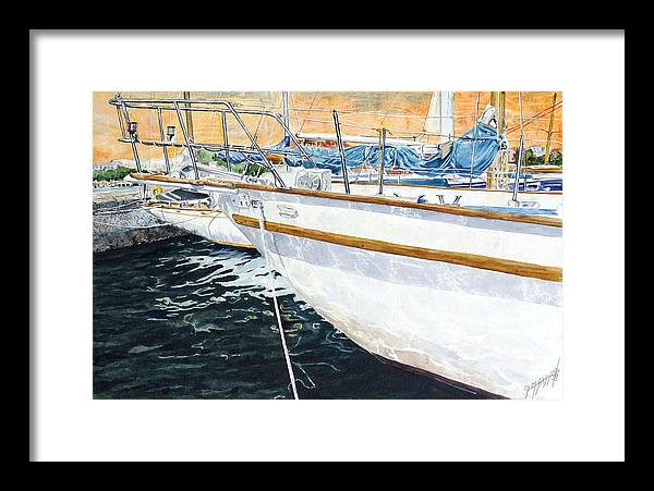 Schip. Boats Framed Print featuring the painting Su'entu E Nora Riflessi by Giovanni Marco Sassu