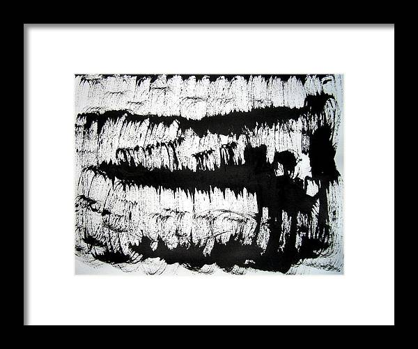 Sumi Framed Print featuring the drawing Sumi-e 120726-2 by Aquira Kusume