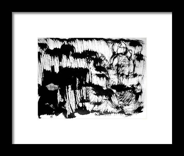 Sumi Framed Print featuring the drawing Sumi-e 120726-3 by Aquira Kusume