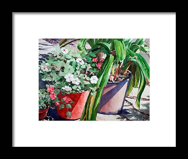 Peter Sit Watercolor Framed Print featuring the painting Summer Impatiens by Peter Sit