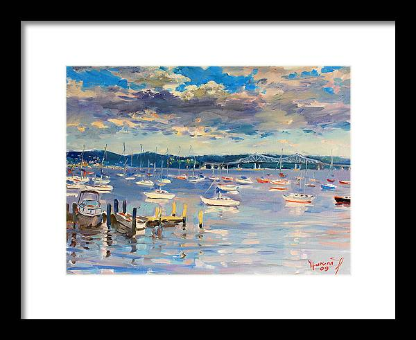 Hudson River Framed Print featuring the painting Sun And Clouds In Hudson by Ylli Haruni