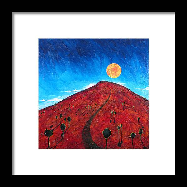Landscape Framed Print featuring the painting Sun Over Red Hill by Rollin Kocsis
