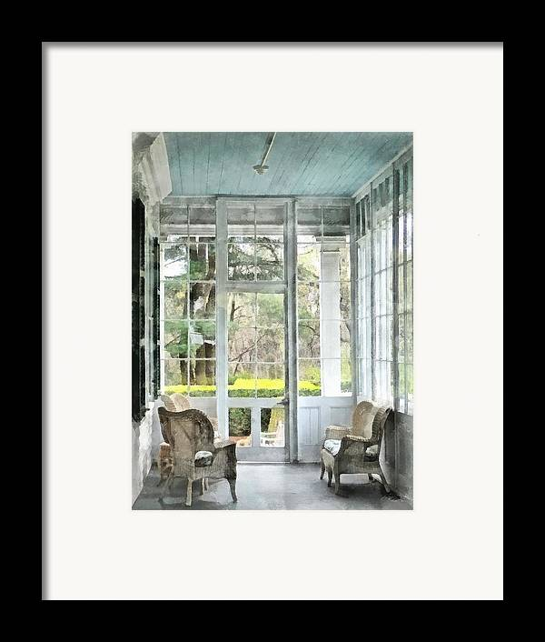 Porch Framed Print featuring the photograph Sun Porch by Susan Savad