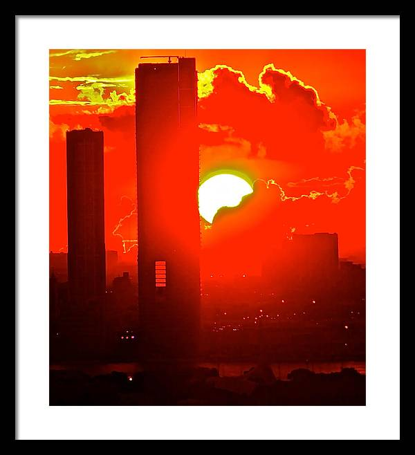 Sun Set Over Miami 9-29-2012 7:30 Pm Framed Print featuring the photograph sun set Miami Sept. 29 2012 by Ronald Bell